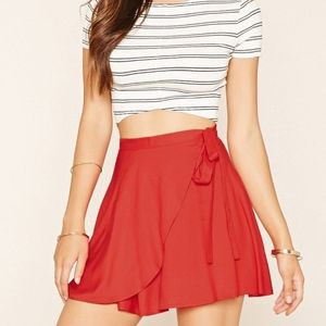 Forever 21 Red Woven Wrap Tie Mini Skirt
